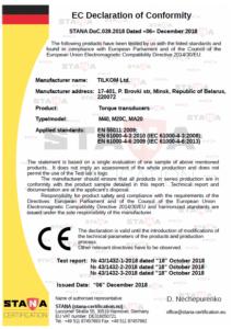 deklaracja zgodności CE czujników momentu TILKOM